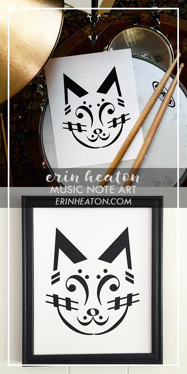 269e218f990 Cat Music Art Print in 2019