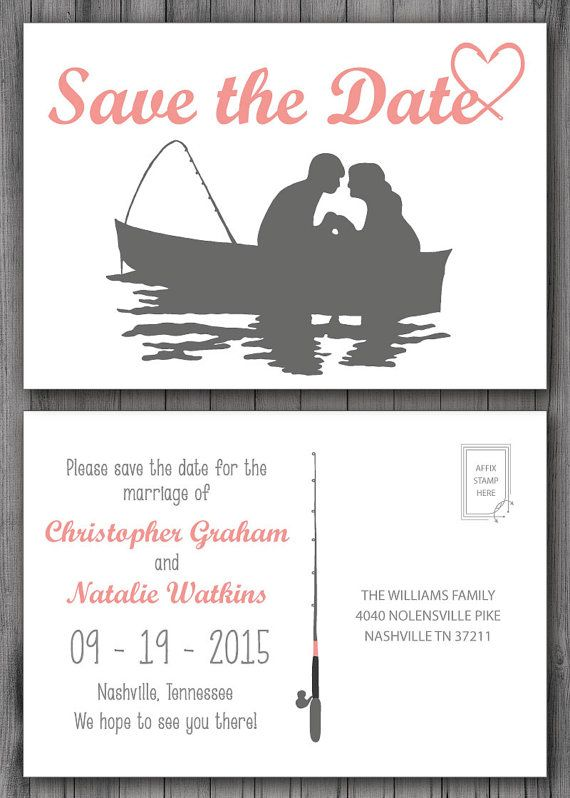 Gone Fishing Save the Date Postcard  Custom Design by TwineAndTrue