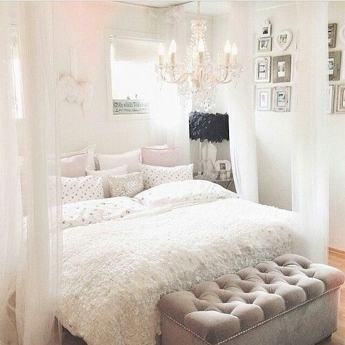White pink sparkly girly bedroom home office for Bedroom designs girly