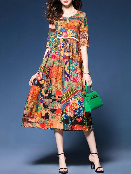 Shop Casual Dresses - Multicolor Buttoned Abstract Casual Print Dress online. Discover unique designers fashion at JustFashionNow.com.