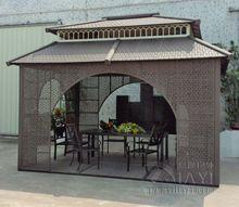 4 * 3 м беседки железный каркас плетеная из ротанга открытый беседки железа палатка патио павильон сад козырек от солнца мебель дом(China (Mainland))