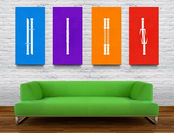 Lounge area at the reception TMNT Weapon Prints by Christina Connelly, via Behance