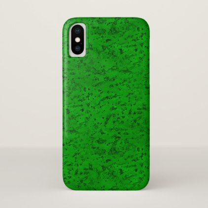Bright Neon Green Cork Bark Look Wood Grain iPhone X Case - rustic style country natural diy customize personalize
