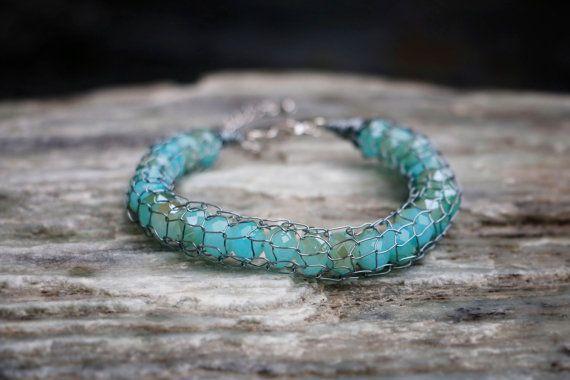 Metallic Silver French Knit Aqua Bracelet by nZuriArtDesigns