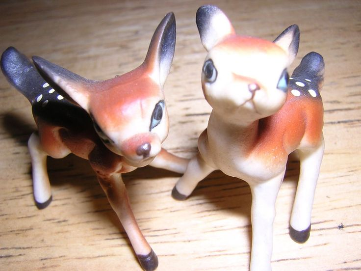 Vintage Pair of Miniature Deer Fawns Very Mean Faces Possibly Mofia or Gang Deer