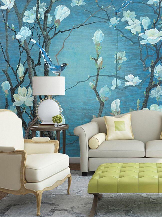 tapisserie asiatique sur mesure papier peint chinois paysage magnolia et oiseau sur fond bleu