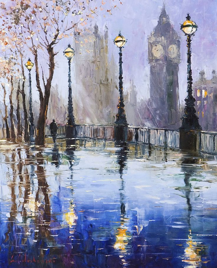 By the Thames London by Gleb Goloubetski,  Oil on Canvas, 80cmx65cm>>I like the rainy-day mood of this picture.
