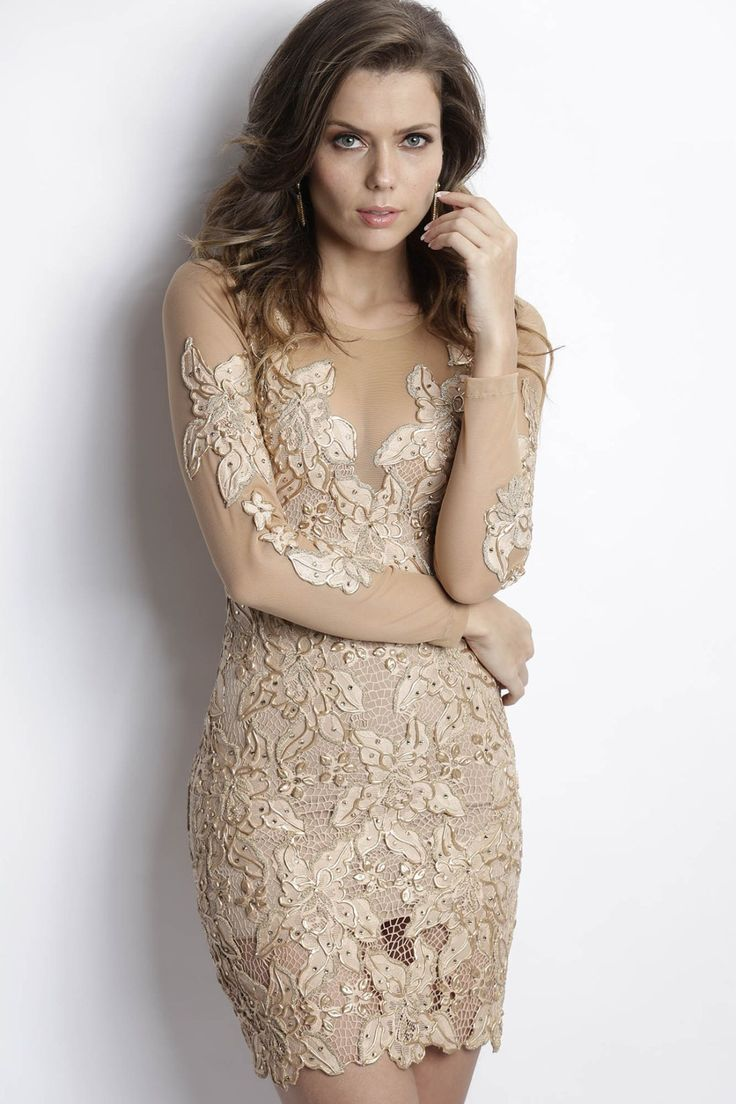 Baccio Couture Roselyn Painted Caviar Champagne Cocktail Dress