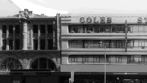 The historic facades hidden behind Target's Bourke Street store, Melbourne - Hoyt's De Luxe Cinema, designed by William Pitt (l) and (r) Manton's (later Coles) department store, designed by Harry Norris!