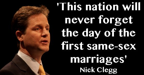 Video: Nick Clegg congratulates same-sex couples marrying this weekend