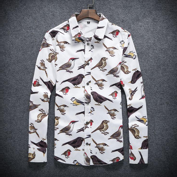 Nuovo marchio di abbigliamento uomo camicia uccello di stampa del cotone mens dress  Camicie slim fit casual camicia maschile più 5xl chemise sociale  Homme(China (Mainland))