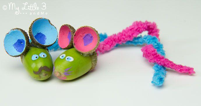 Amiamo questi topi ACORN adorabili!  Ottenere i bimbi fuori raccogliendo per questo progetto artigianale ghianda oggi!  l'artigianato autunno per i bambini sono così divertente.  Squittio!