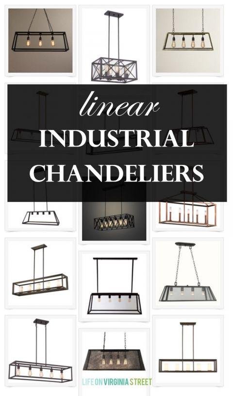 linear industrial chandeliers via lifeonvirginiastreet.com