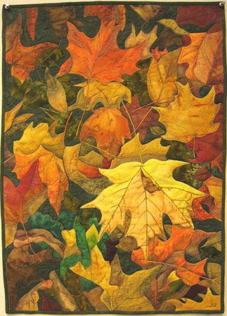 """""""on the forrest floor"""" quilt by Jane Blair. Machine appliqued and quilted."""