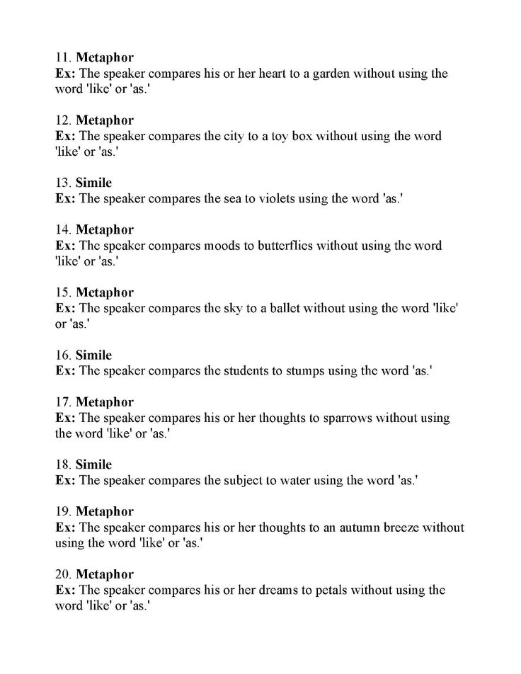 Simile and Metaphor Worksheet 3   Answers in 2020 With ...