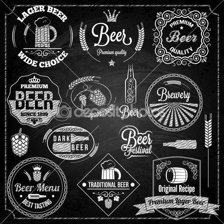 Cerveza set pizarra elementos — Ilustración de stock #39366167