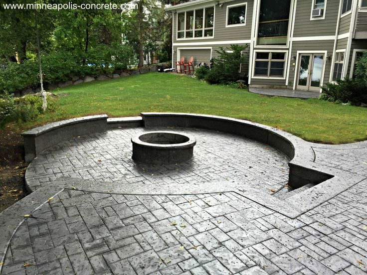 Stamped Concrete Patio With Raised Firepit Www