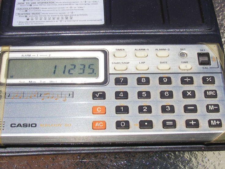 Vintage Casio Melody80 Vintage Electronic Calculator Stopwatch Clock Case Alarms #Casio