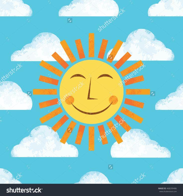 Summer Sun And Clouds Seamless Vector Pattern - 468299486 : Shutterstock