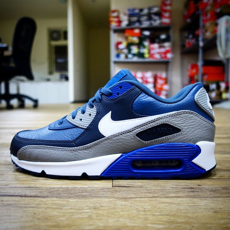 Nike Air Max 90 LTR Leather Navy Grey NSW Mens Casual / Running Shoes  Sneakers