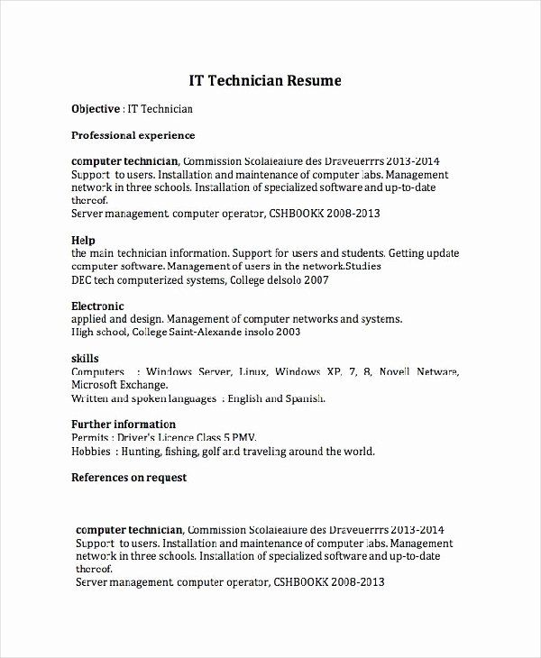 It Support Technician Resume Unique Cv Writing Software For Windows 7 In 2020 Job Resume Samples Resume Skills Resume Objective