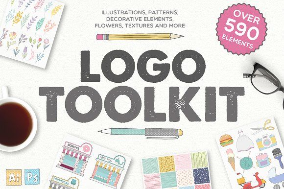 Logo Toolkit - Over 590 Elements by Julia Dreams on @creativemarket