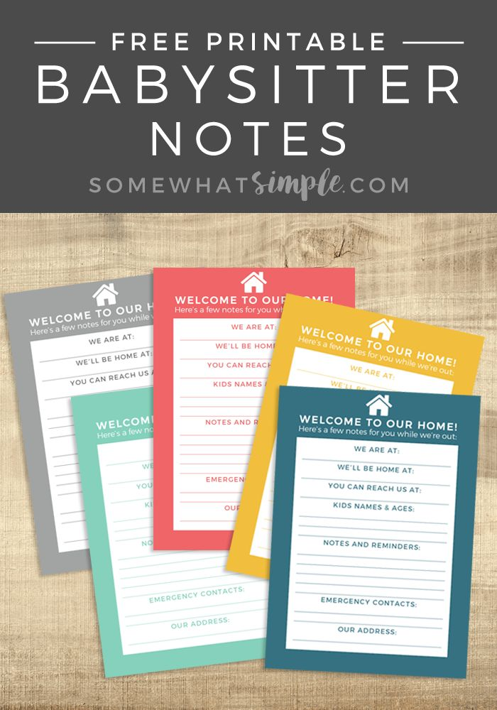 Notes for the Babysitter- Free Download - Somewhat Simple
