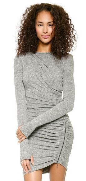 Love the Zipper! Love the Draping! Sexy Grey Long Sleeve Bodycon Zipper Dress #Sexy #Grey #BodyCon #Dress #Fashion