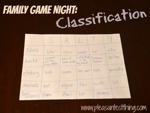 Family Game Night: Classification - would be easy in the car too, perhaps not for the driver though! #gametime