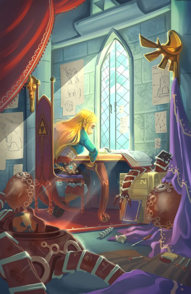 I've not played Hyrule Castle yet, but I wandered in there looking for a memory, so I saw her room and her study. Her study notes were interesting!