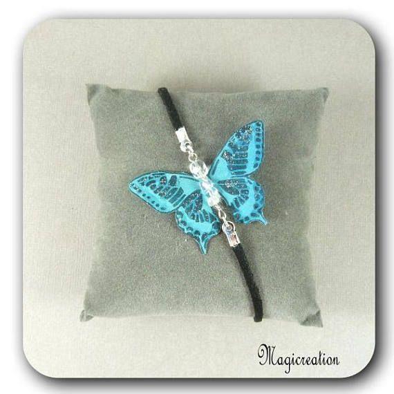 bracelet papillon soie bleu turquoise et argentécorps de