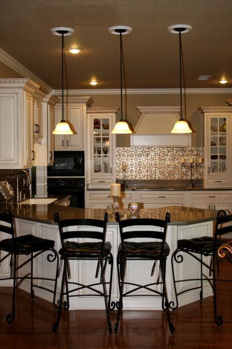 Bold Backsplash, We Recently Added An Easy To Clean Faux Tin Backsplash As  Well As Pendant Lights To Our Kitchen.