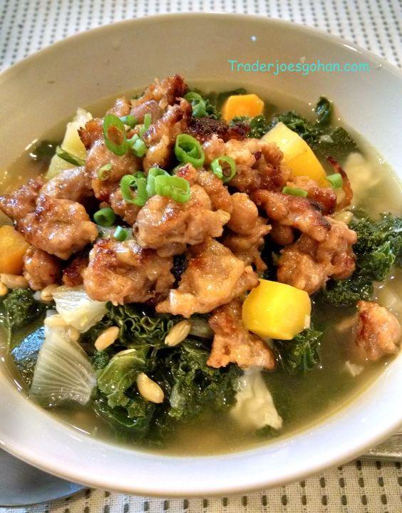 トレーダージョーズの野菜と大麦(バーレー)のスープ Barley Soup Recipe レシピ お野菜は、トレーダージョーズのケール、フェンネル、にんじんを使っています。