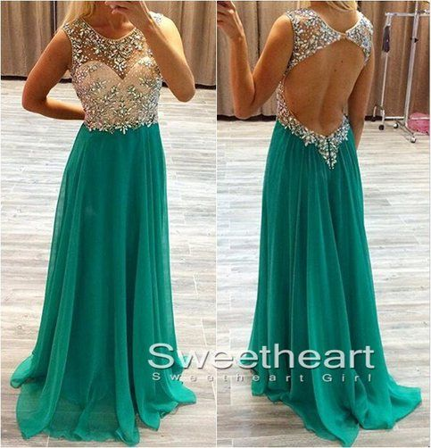 A-line Round neck Chiffon Green Long Prom Dress, Formal dress,green evening dress
