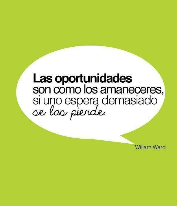 Las oportunidades son como los amaneceres, si uno espera demasiado se las pierde