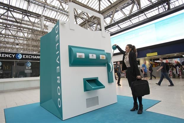 deliveroo - In order to promote its restaurant delivery service in the UK, Deliveroo set up a fun installation in London's Waterloo Station.   The '...