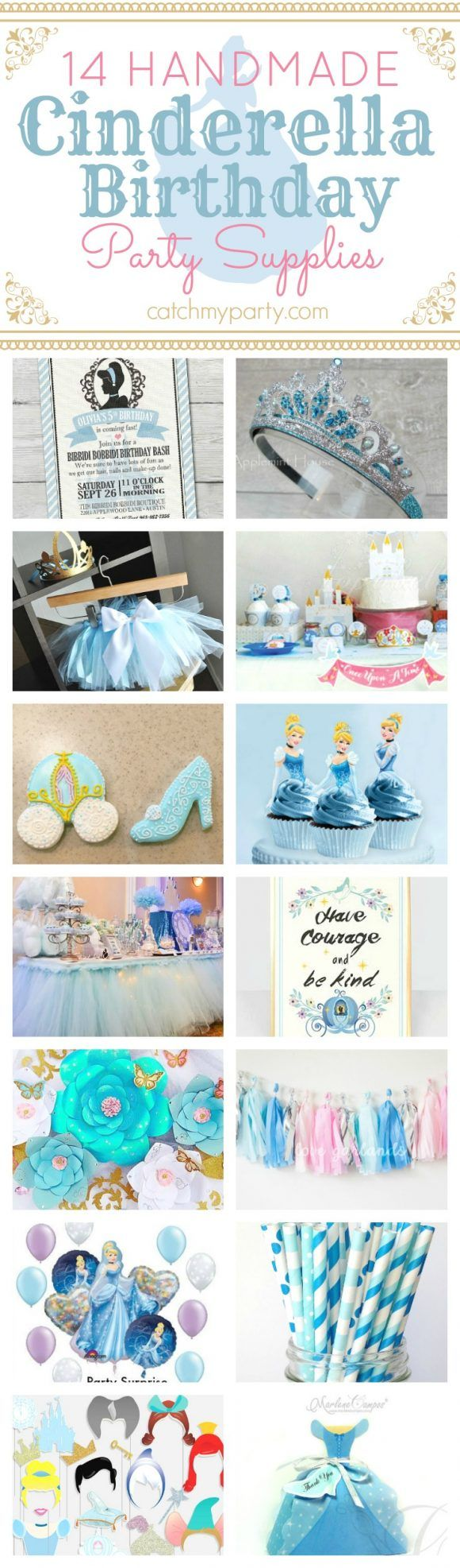 Don't miss these gorgeous 14 Handmade Cinderella birthday party supplies. Perfect if you are planning a Cinderella themed party! See more party ideas and share yours at CatchMyparty.com
