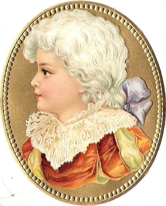 Oblaten Glanzbild scrap die cut chromo Kind child head Portrait  Medaillon gold