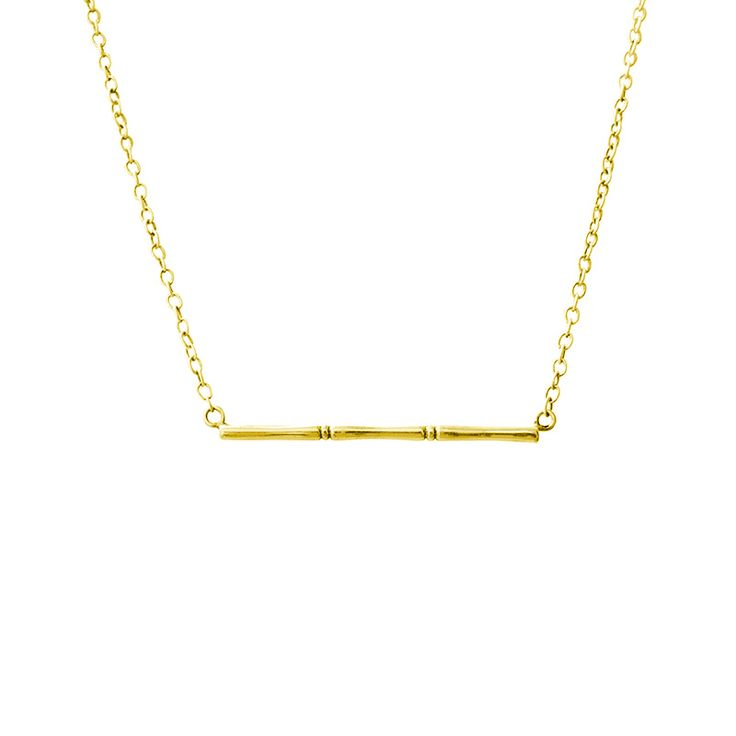 Bamboo Horizontal Necklace in 22 KT Yellow Gold. 70s style inspiried. Shop the collection at www.murkani.com.au