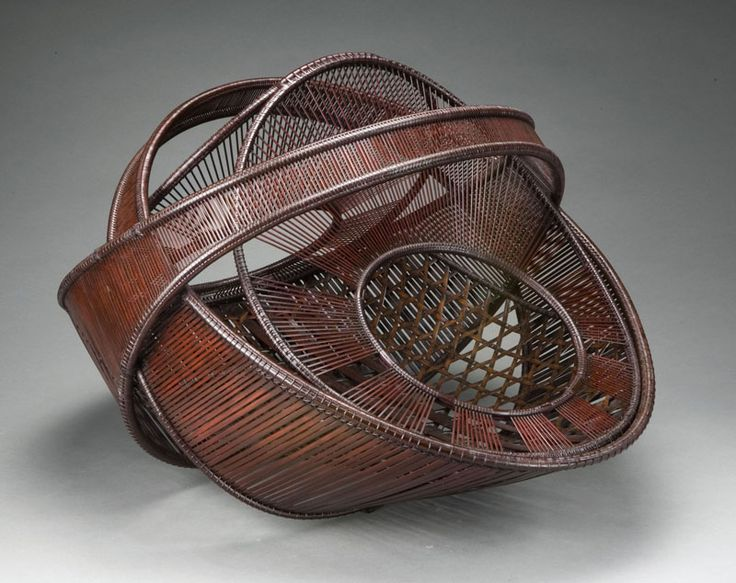 Basketry, Ueno Masao (b. 1949), Artist, Inside Out, 2006,Bamboo (madake), rattan, gold leaf  Selected techniques: Amida's halo plaiting (variant), H. 15 in x W. 20 in x D. 19 in., Photograph by Kaz Tsuruta.