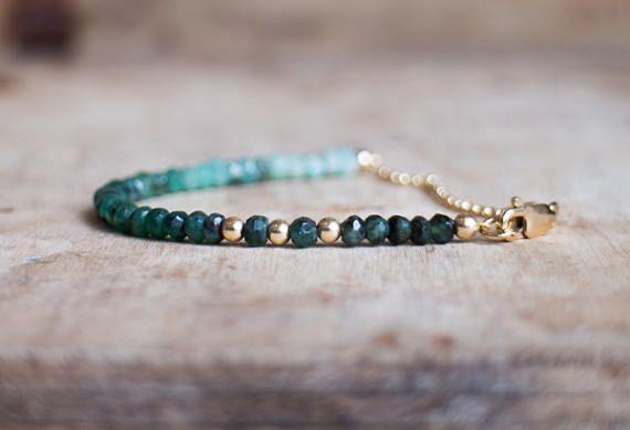 Bracciale smeraldo possono Birthstone gioielli Smeraldo