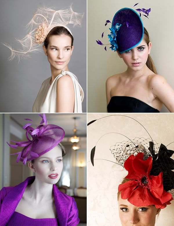 Fabulous Fascinators (and some hats, too) | Snippet & Ink ({Clockwise from top left} Rachel Trevor-Morgan Millinery, Gina Foster Millinery, Beth Morgan Couture, Nigel Rayment)