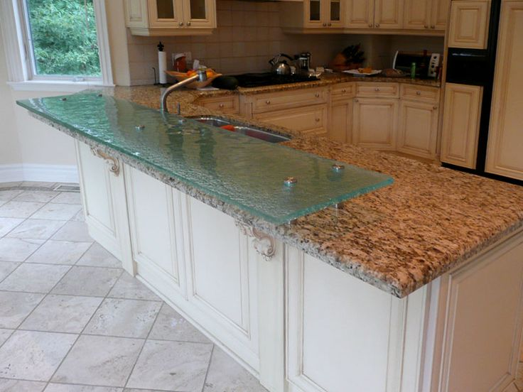 Adding A Bar To A Kitchen Island: Raised Glass Counter Top Was Added