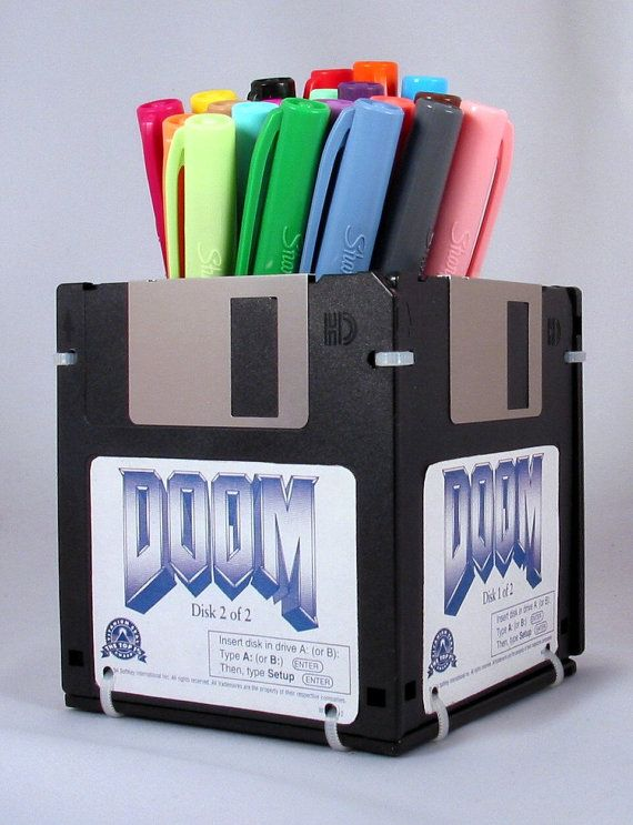 DOOM Video Game Floppy Disk Pen and Pencil Holder on Etsy, $6.99