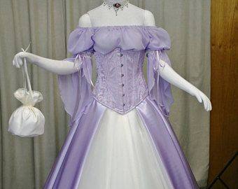 Fae dress, fairy wedding dress, woodland dress, handfasting gown, medieval dress, renaissance clothing, lilac wedding dress, corset, elven