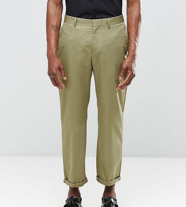 Religion Straight Leg Cropped Pants in Khaki - Green