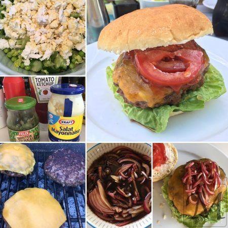 Med det helt fantastiske vejr vi har haft i dag, var det jo oplagt at grille og noget af det allerbedste man kan få på sådan en snart-sommerferie-mandag er da grillede burgere med hele svineriet!  Så jeg startede med at snitte et rødløg og koge en eddikelage, som de rå løg blev dumpet i.   #burger #feta #grill #rødløg #salat