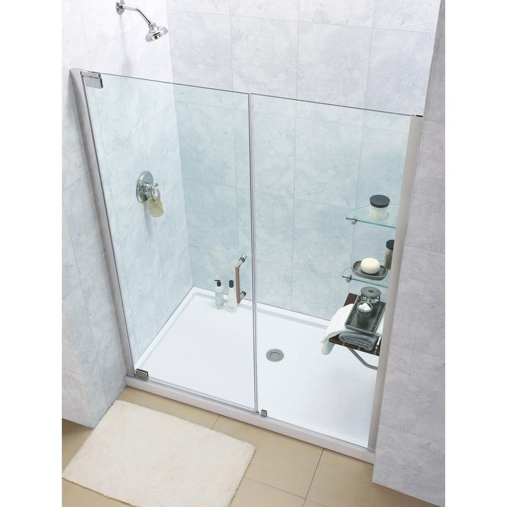DreamLine Elegance 36 in. x 60 in. x 74.75 in. Semi-Framed Pivot Shower Door in Brushed Nickel and Center Drain White Acrylic Base
