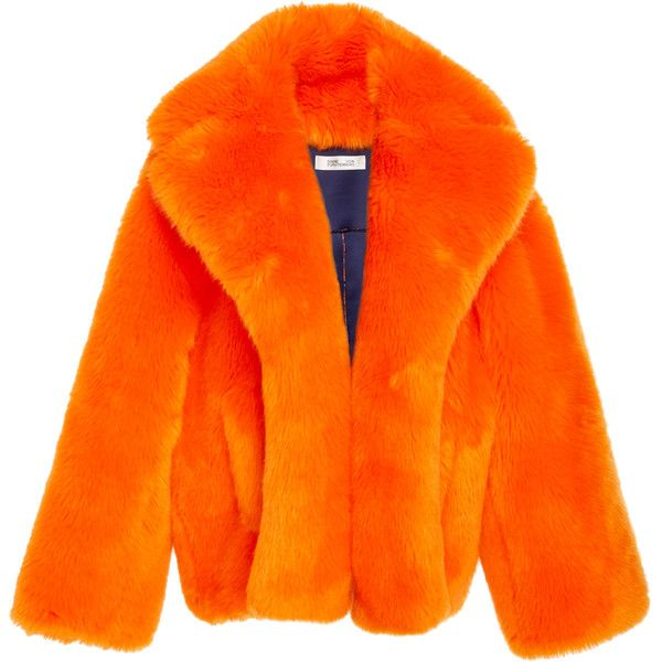 Faux Fur Jacket | Moda Operandi (2,205 AED) ❤ liked on Polyvore featuring outerwear, jackets, orange jacket, faux fur jacket, fake fur jacket, shawl collar jacket and long sleeve jacket