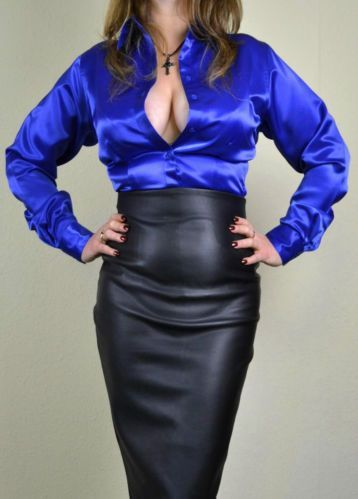 High Waist Black Leather Pencil Skirt and Blue Satin Blouse ...